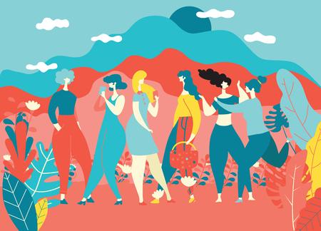 Glücklicher Frauentag 8. März, glückliche Mädchen, die zusammenstehen, Gruppe von Freundinnen, süße Karten und Poster für den Frühlingsurlaub. Frau und Blumen, bunte Vektorillustration