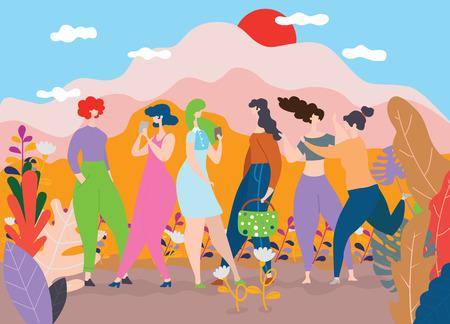 Feliz día de la mujer 8 de marzo, niñas felices de pie juntas, grupo de amigas, lindas tarjetas y carteles para las vacaciones de primavera. mujer y flores, ilustración vectorial colorida
