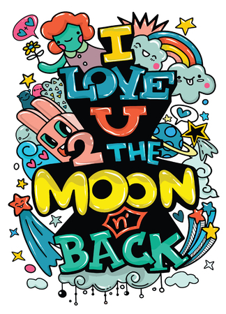 I love you to the moon and back. Hand drawn poster with satr and romantic phrase. Illustration can be used for a Valentines day or Save the date card or as a print on t-shirts and bags Ilustrace