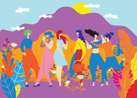 Journée de la femme heureuse le 8 mars, filles heureuses se tenant ensemble, groupe d'amies, cartes et affiches mignonnes pour les vacances de printemps. femme et fleurs , illustration vectorielle coloré Vecteurs