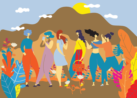 Happy Women s Day March 8 ,Happy girls standing together ,Group of female friends,  Cute cards and posters for the spring holiday.  woman and flowers , Colorful vector illustration Çizim