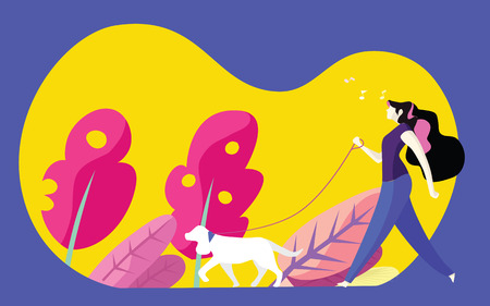 Young woman walking dog in park . Simple, modern flat cartoon style vector illustration