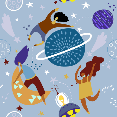 Seamless childish pattern with funny girls  with moons and starry sky. Creative kids texture for fabric, wrapping, textile, wallpaper, apparel. Vector illustration