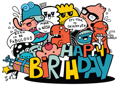 Cartoon People and Happy Birthday ,Hand Drawn Vector Illustration of Doodle, illustrator line tools drawing,Flat Design