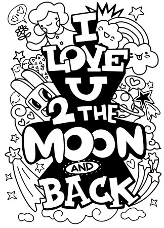 I love you to the moon and back. Hand drawn poster with satr and romantic phrase. Illustration can be used for a Valentine's day or Save the date card or as a print on t-shirts and bags