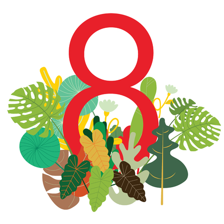 Banner for the International Women  Day. Flyer for March 8 with the decor of flowers. Invitations with the number 8 ,with a pattern of spring plants, leaves and flowers