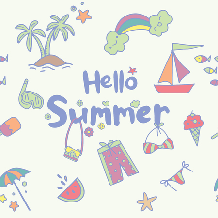 Seamless childish pattern with cute summer with hand drawn shapes. Creative kids texture for fabric, wrapping, textile, wallpaper, apparel. Vector illustration Stock Vector - 120494786