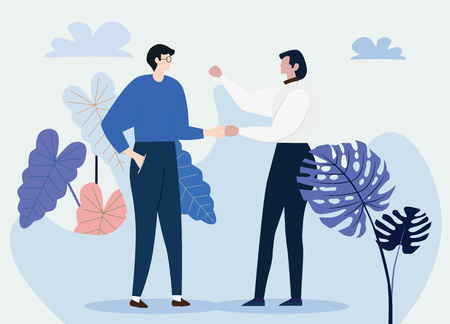 Two young millionaires are talking. Meeting of friends or colleagues in the garden,. Concept business vector illustration