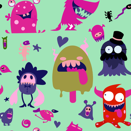 Cartoon Monsters collection. Vector set of cartoon monsters isolated. Design for print, t-shirt, illustration, logo, sticker ,seamless background doodle .Vector hand drawn illustration. Stock Vector - 124106289