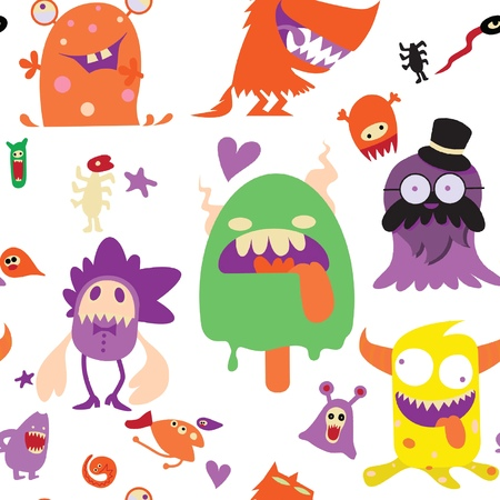 Cartoon Monsters collection. Vector set of cartoon monsters isolated. Design for print, t-shirt, illustration, logo, sticker ,seamless background doodle .Vector hand drawn illustration.