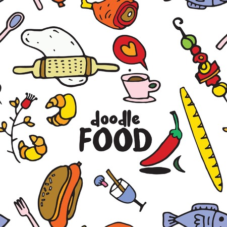 Seamless childish pattern with cute foodl and hand drawn shapes. Creative kids texture for fabric, wrapping, textile, wallpaper, apparel. Vector illustration