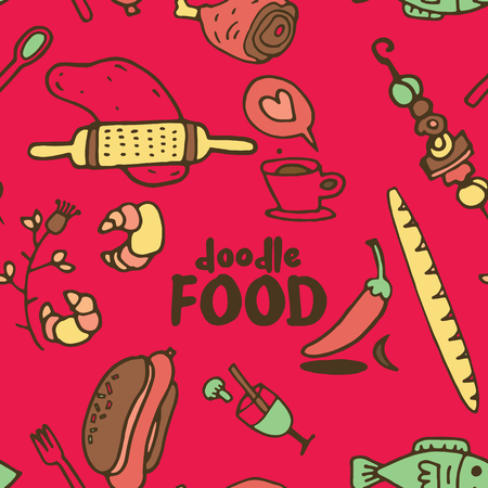 Seamless childish pattern with cute foodl and hand drawn shapes. Creative kids texture for fabric, wrapping, textile, wallpaper, apparel. Vector illustration 写真素材 - 120494903