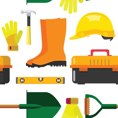 vector illustration set isolated icons building tools repair, construction buildings, Building tool and equipment seamless pattern of hammer, trowel, tool box, kit flat style Vectores