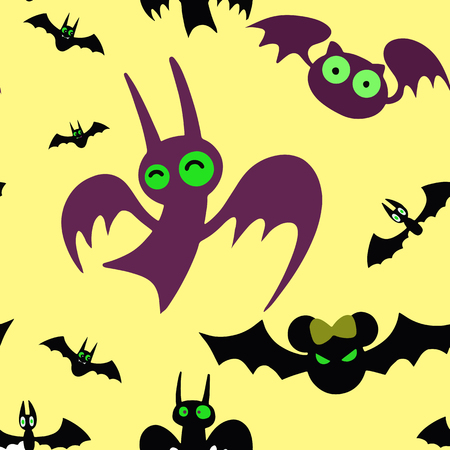 Baby seamless pattern ,Set of cartoon Halloween bats. Collection set. Design for Halloween party decoration. Vector illustration. Trick or Treat Concept. Illustration isolated on white background Banque d'images - 124056800