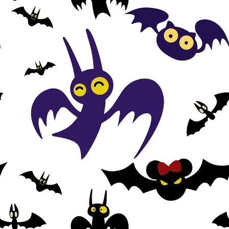 Baby seamless pattern ,Set of cartoon Halloween bats. Collection set. Design for Halloween party decoration. Vector illustration. Trick or Treat Concept. Illustration isolated on white background