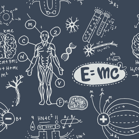 Vector illustration of scientific formulas and calculations in physics and mathematics.seamless pattern