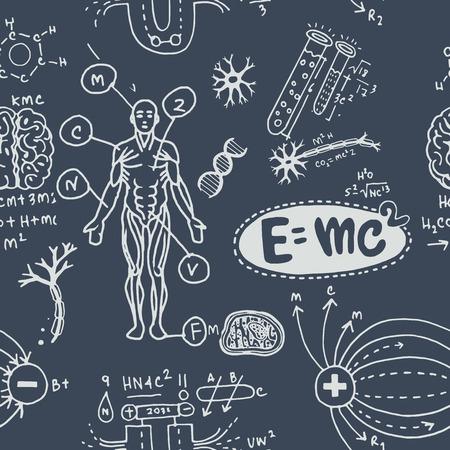 Vektorillustration von wissenschaftlichen Formeln und Berechnungen in Physik und Mathematik. nahtloses Muster