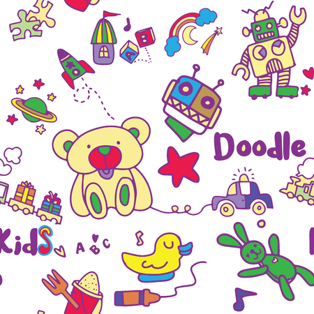 Seamless childish pattern with Cartoon toys. Game toy teddy bear dinosaur rocket childrens cubes kite robot. Kids dolls vector collection Illustration