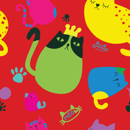 Seamless childish pattern with cute cat and hand drawn shapes. Creative kids texture for fabric, wrapping, textile, wallpaper, apparel. Vector illustration