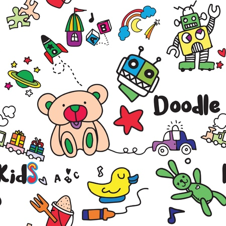 Seamless childish pattern with Cartoon toys. Game toy teddy bear dinosaur rocket childrens cubes kite robot. Kids dolls vector collection Foto de archivo - 120494923