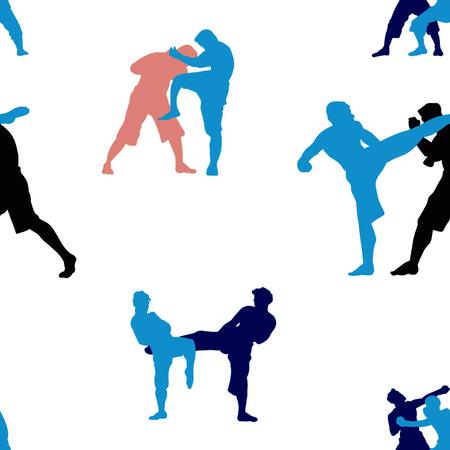 Patrón sin fisuras con el conjunto de acción de muay thai, silueta, lucha de boxeo tailandés tradicional, ilustración vectorial
