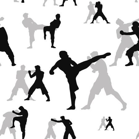 Patrón sin fisuras con el conjunto de acción de muay thai, silueta, lucha de boxeo tailandés tradicional, ilustración vectorial Ilustración de vector
