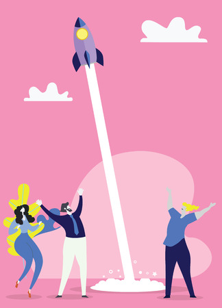 Team of colleagues celebrate win in startup project . The concept of victory. Flat vector illustration  イラスト・ベクター素材