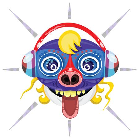alien Head. Cartoon vector illustration Çizim