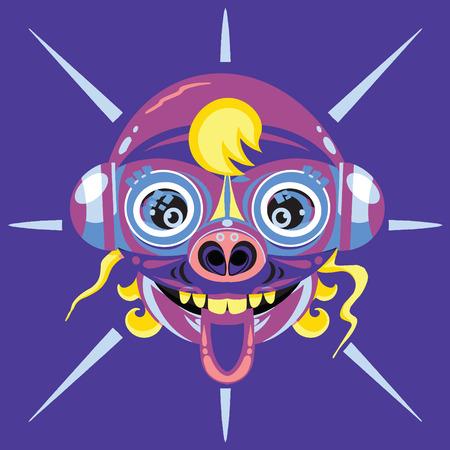 alien Head. Cartoon vector illustration Иллюстрация