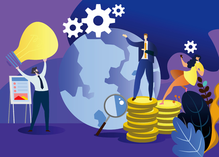 Young businessman are offering ideas for the boss .Concept business vector illustration