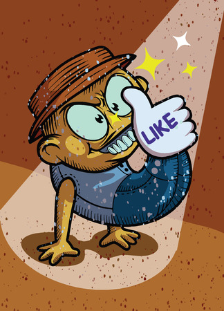 Hand Made hand drawn vector doodles illustration, the boy crazu smile  is pressing like a foot. In the spotlight