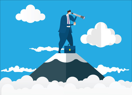 Businessman standing on top of the mountain using telescope looking for success. Concept business illustration. Vector flat 일러스트