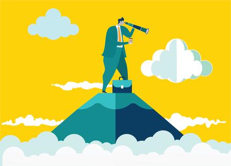 Empresario de pie en la cima de la montaña con telescopio en busca de éxito. Ilustración de concepto de negocio. Vector plano Ilustración de vector
