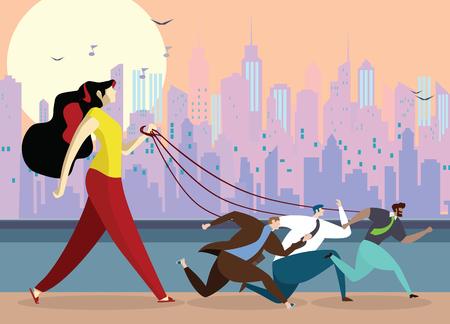 giovane donna che tiene il guinzaglio del cane. Uomo d'affari infelice oppresso dalla donna. L'uomo è un animale domestico nelle mani della donna, illustrazione vettoriale