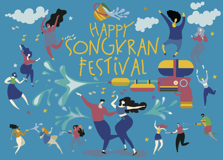 Songkran festival concept, people dancing and playing water ,the Songkran party of Thailand Design for banner and over use ,thai temple, thai culture, illustration, vector, background