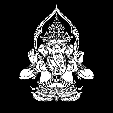 Illustration of Lord Ganpati or Ganesha. Ganesh Chaturthi festival for Prayer to Lord Ganesha birth. Hand drawn Thai classic design