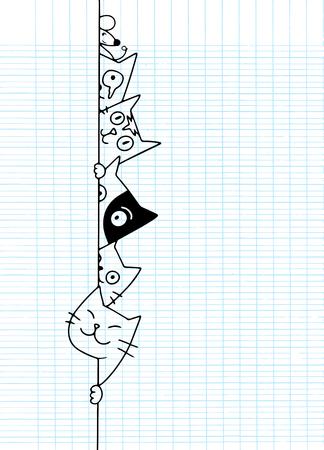 Simpatici gatti scarabocchiati si nascondono dietro il muro, disegno di cartoni animati per sito web, pubblicità, carta da parati e cartello Utile per pubblicità, poster, copertine di libri e banner. Concetto di arte creativa, illustrazione vettoriale