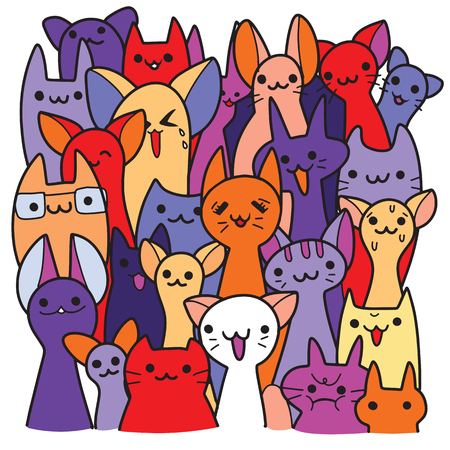 Vector illustration of Doodle cute cats background , a lot of cartoon cats. Funny cats.Hand drawing Doodle, Flat design Ilustração