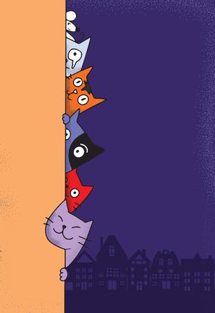 Lindos gatos garabatos se esconden detrás de la pared, dibujos animados para sitios web, anuncios, fondos de pantalla y carteles. Útil para anuncios, carteles, portadas de libros y pancartas. Concepto de arte creativo, ilustración vectorial Ilustración de vector