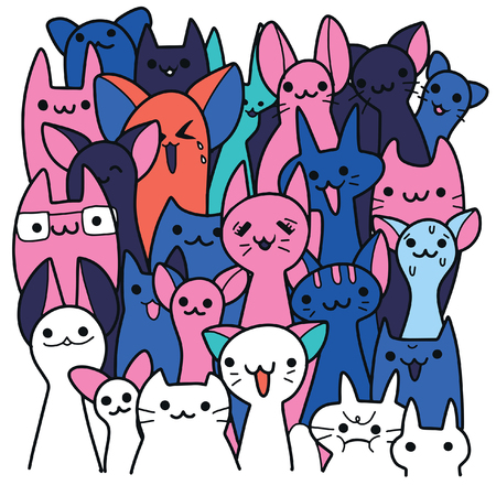 Vector illustration of Doodle cute cats background , a lot of cartoon cats. Funny cats.Hand drawing Doodle, Flat design Stock Illustratie