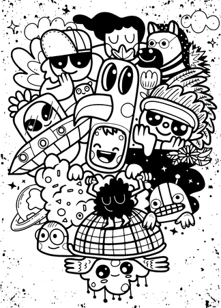A group of crazy monster  that are happy sitting on a flying turtle. Vector illustration of Doodle cute Monster background ,Hand drawing Doodle Flat design