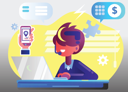 businessman marketer working at the computer in the office, vector flat illustration of programmer, business analyst, designer, manager Иллюстрация