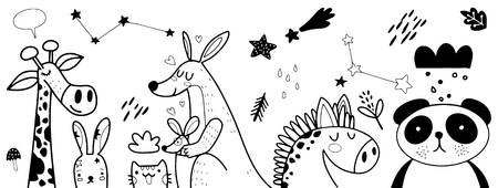 Animal cartoon set illustration ,Vector illustration of Doodle cute animal background ,Hand drawing Doodle