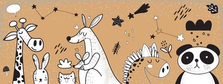 Illustration de jeu de dessin animé animal, illustration vectorielle de fond animal mignon Doodle, dessin à la main Doodle