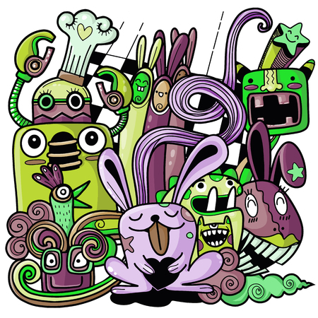Funny rabbit ,great for  backgrounds  textile and fabric. Vector illustration Imagens - 124446377