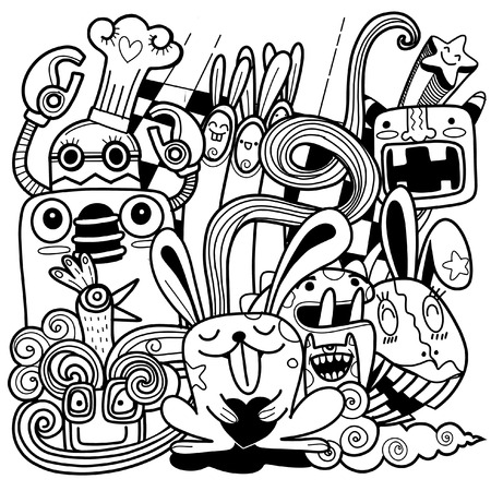 Funny rabbit black and white, Great for coloring page, prints, backgrounds, textile and fabric. Vector illustration