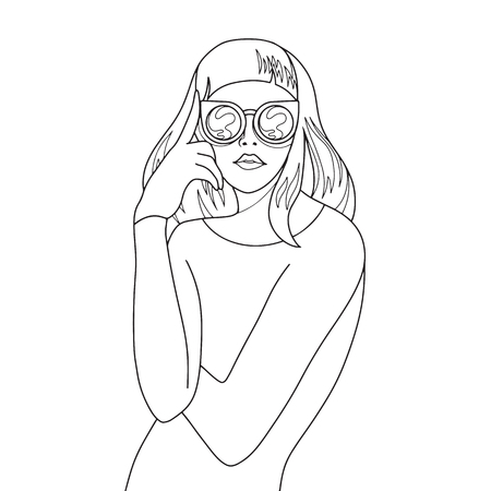 Beautiful young woman with sunglasses retro style. Pop art. Summer holiday. Vector  illustration