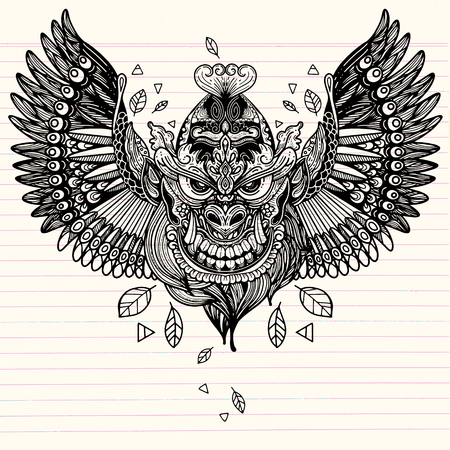 Illustration of monster with Wings,Hand Drawn Tattoo ,  Tattoo design of the decorative crow tattoo with Maori style ornaments