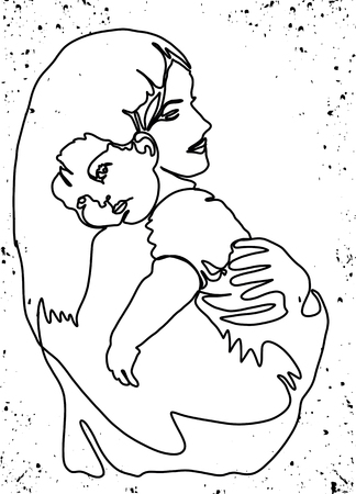 Happy Mothers Day. Abstract mom and baby silhouette. Template for your design. Vector illustration