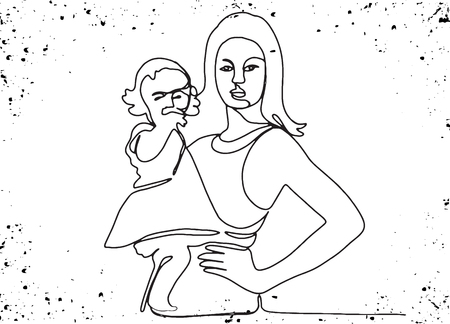 Happy Mother's Day. Abstract mom and baby silhouette. Template for your design. Vector illustration Standard-Bild - 124446434